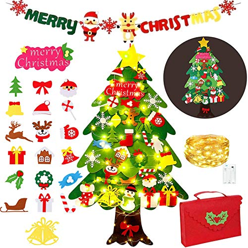 Zapdaz Árbol de Navidad de Fieltro para niños, 3.6 ft DIY árbol de Navidad de Pared fijó con 50 Luces LED 34 Piezas...
