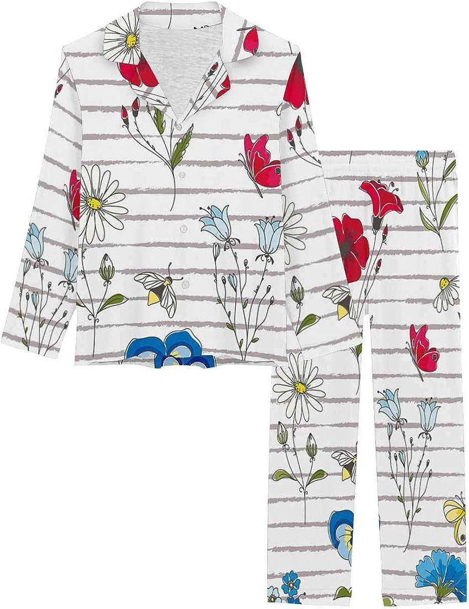 InterestPrint Long Sleeve Nightwear Button Down Loungewear for Women Wild Flowers on Striped