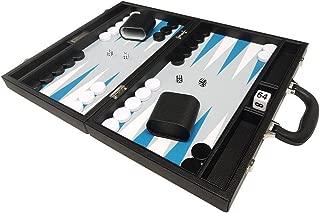 Silverman & Co. 16-inch Premium Backgammon Set - Medium Size - Black Board, White and Astral Blue Points