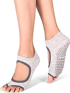Calcetines de Yoga Pilates para Mujer – Calcetines Antideslizantes de Suela Adherente – Calcetines Sin Dedos para Pilates – Barra, Ballet