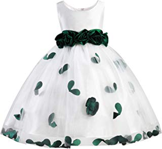 Girls Tutu Bow Dress Flower Petals Princess Dress with 3D Roses for Birthday Wedding Party