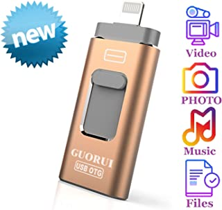 Photo Stick Mobile for iPhone USB Flash Drive 128GB GUORUI USB Memory Stick 128GB Jump Drive Thumb Drive 3.0 Flash Drive Compatible for iPhone iPad PC Android Micro USB Glod