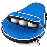 [page_title]-AIMERKUP Tischtennistasche | Gepolsterte Tasche für Tischtennisschläger, Seitentasche für Zubehör für Bälle | Schutzbox mit Reißverschluss, blau, gratis