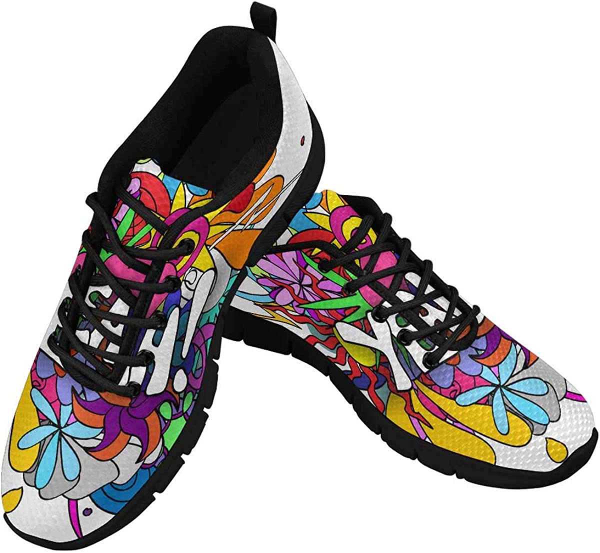 INTERESTPRINT Yeah Doodles Women's Running Shoes Mesh Breathable Sports Casual Shoes