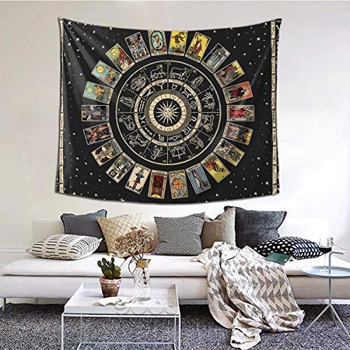 Gbxiat Wheel of The Zodiac, Astrology Chart & The Major Arcana Tarot Tapiz Boutique Tapiz para Colgar En La Pared Tapiz Vintage Tapiz De Pared Micro Fibra Melocotón Decoración para El Hogar 60x51 In