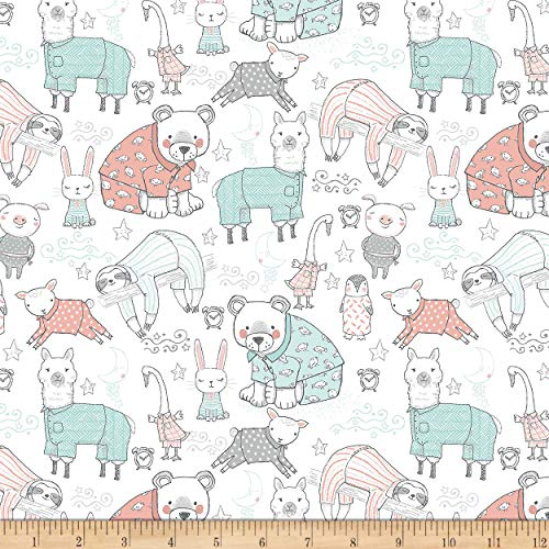 Comfy Flannel Animals In Pajamas Relaxing White, Fabric by the Yard