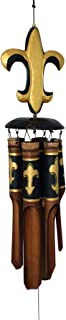 Cohasset Gifts 112 Cohasset Fleur De Lis Bamboo Wind Chime, Black & Gold
