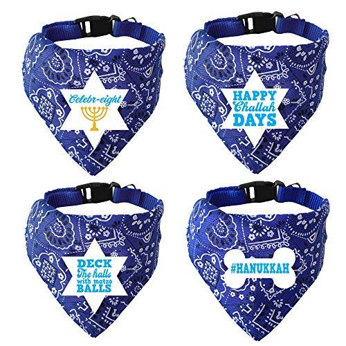 Paws Paws Miami, Pet Bandana and Collar, Adjustable, Hanukkah 4 Pack (Medium)