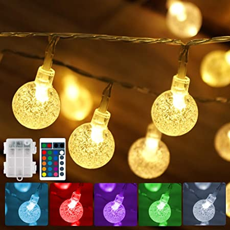 Battery Operated String Lights USB Powered 16 Colors Globe LED Fairy String Lights with Timer & Memory Function, Indoor& Outdoor String Lights with Remote for Bedroom Camping Christmas Patio Balcony