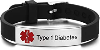 Pre-Engraving Medical Alert ID Bracelet with Silicone Band Stainless Steel Tag, Adjustable Size