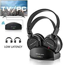 Wireless Headphones for TV with Charging Dock,Over The Ear Stereo Headset with RF Transmitter,Adjustable,Lightweight,Cordless Design for Gaming PC, Rechargeable 25 Hour Battery TV Headphone Wireless