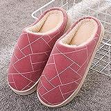 Slippers Doublure Intérieure Douce Chaussures,Pantoufles chaudes en coton en peluche pour femmes,chaussures d'hiver antidérapantes à semelle épaisse-37-38_F rouge vin,Domicile Chaussons en Peluche