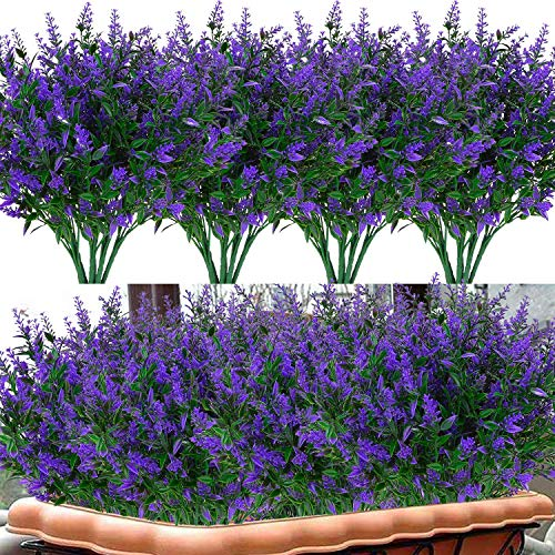 18 Pack Artificial Lavender Flowers Bouquet Fake Plants for Indoor Outdoor UV Resistant Plastic Flowers with Stems Decor Home ,Wedding, Party, Garden, Patio, Office, (Purple)