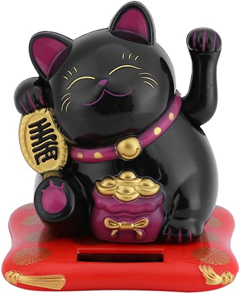Fdit Solar Powered Cute Waving Cat Good Luck Wealth Welcoming Cats Home Display Car Decor Black