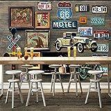 Mural Fotomural Papel Pintado Placa De La Ruta 66 Papel Tapiz Mural Para Bar Paredes De Fondo Papel Tapiz De Decoración De La Sala Papel De Pintura Nonwovens @ 350 * 245Cm