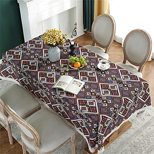 Rectangular Home Living Room Kitchen Tablecloth Bohemian Style Geometric Print Outdoor Party Barbecue Decorative Tablecloth Cafe Square Coffee Table Cloth 140x240cm