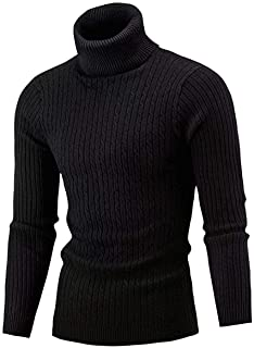QZH.DUAO Cameinic Men's Casual Slim Fit Turtleneck Pullover Sweaters with Twist Patterned & Long Sleeve T-Shirt
