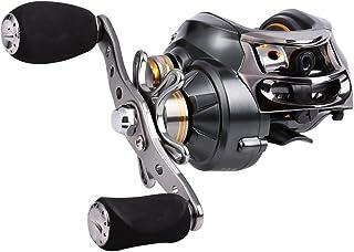 Sougayilang Carrete de cebo, 12 rodamientos de acero inoxidable, 18LB Super Drag, magnético de doble freno carrete de pesca para bajos, cangrejos