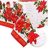 Hiasan Waterproof Christmas Tablecloth Square - 3D Gold Embossed Foil Fabric Table Cloth for Dining, Party, Gathering, Bear and Poinsettia Poinsettia Flower Pattern, 54 x 54 inch