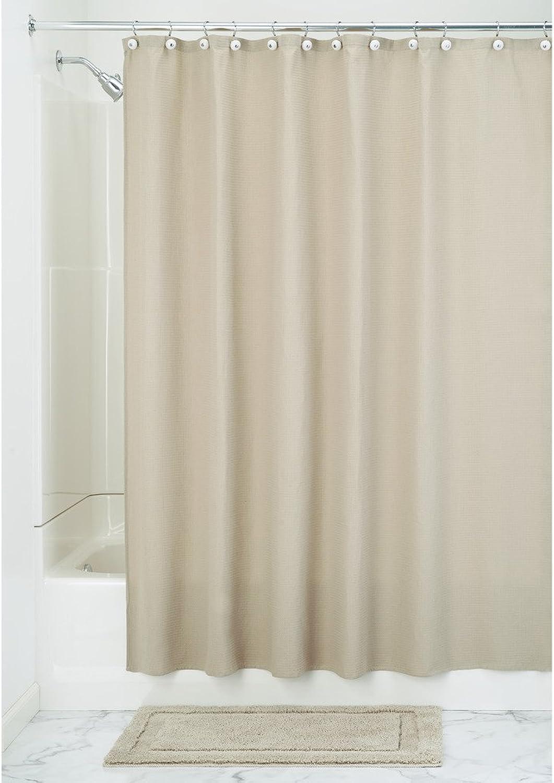 IDesign York Duschvorhang aus Baumwollgemisch mit Waffelmuster - 183 x 183 cm, leinen B002H9X702