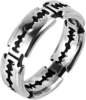 HZMAN Men's Punk Stainless Steel Silver Gothic Double Edge Blades Ring Bands
