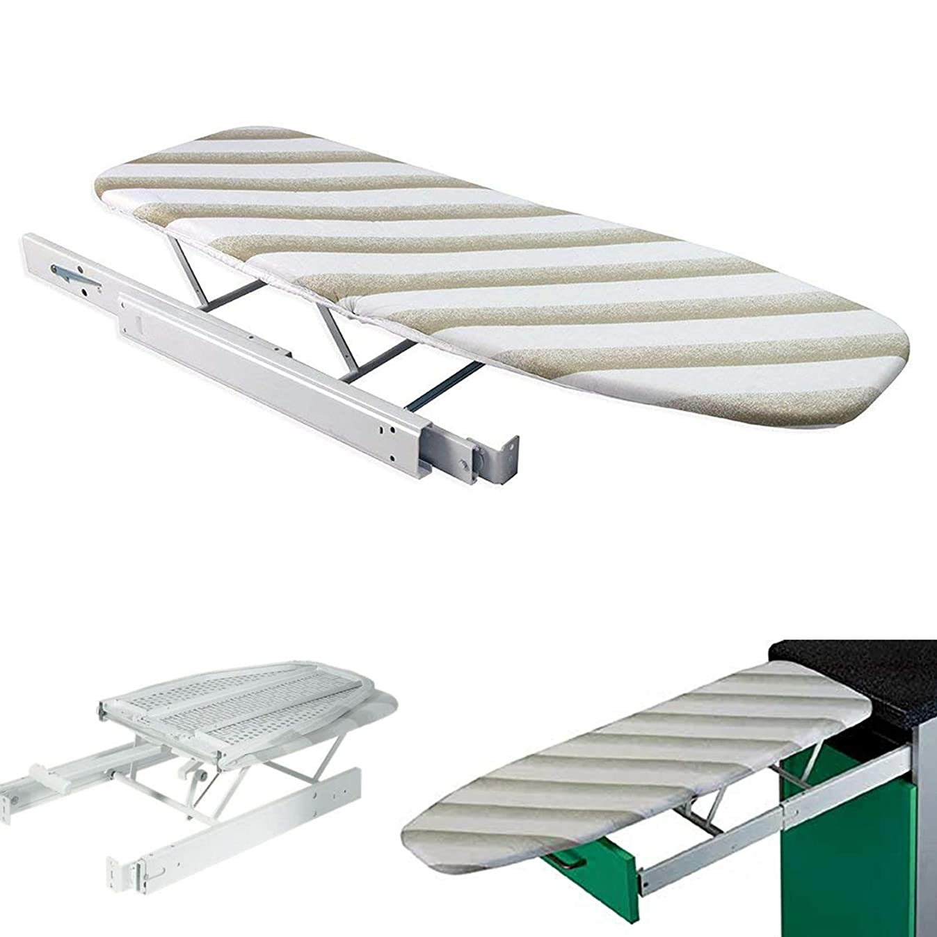Nisorpa Pull Out Ironing Board Solid Metal Cabinet Built in Iron Board with Cover Foldable Hidden Pullout Swivel Ironing Board for Extractible Drawer Space Saving