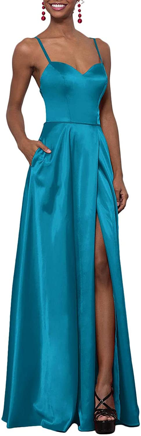 YUSHENGSM Women's Sweetheart CorsetBack Satin Prom Dress Long Evening Party Gown Pockets