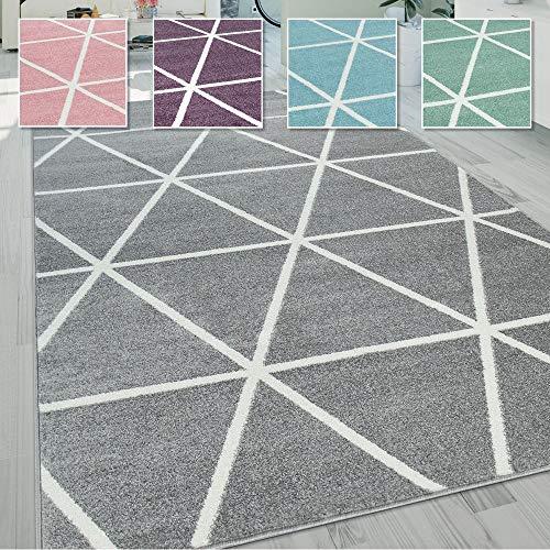 Paco Home Wohnzimmer Teppich, Moderne Pastell Farben, Skandinavischer Stil, Rauten Muster, Farbe:Grau, Grösse:200x280 cm