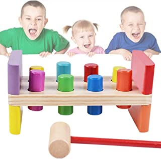 Anniston Kids Toys, Pounding Bench Colorful Wooden Kids Preschool Baby Striking Beat Toy with Hammer Learning & Education ...