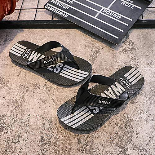 RSVT Zapatillas de Estilo para el hogar,Chanclas de Plataforma de baño Antideslizantes, Chanclas de Gran tamaño y Zapatos de Playa-Negro_42,Sandalias De Ducha de Casa