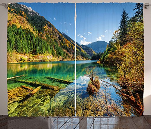 """Ambesonne Outdoor Curtains, Scenic View Arrow Bamboo Lake Among Mountains and Colorful Fall Woods China, Living Room Bedroom Window Drapes 2 Panel Set, 108"""" X 90"""", Yellow Green"""