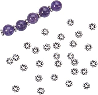 PH PandaHall 300pcs Tibetan Alloy Flower Spacer Beads Antique Silver Daisy Metal Jewelry Spacers for Bracelet Necklace Jewelry Making, 6x6x2mm