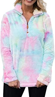Tie Dye Sweatshirt Colorful Artificial Wool Collar Long Sleeved Zipper Jacket Coat
