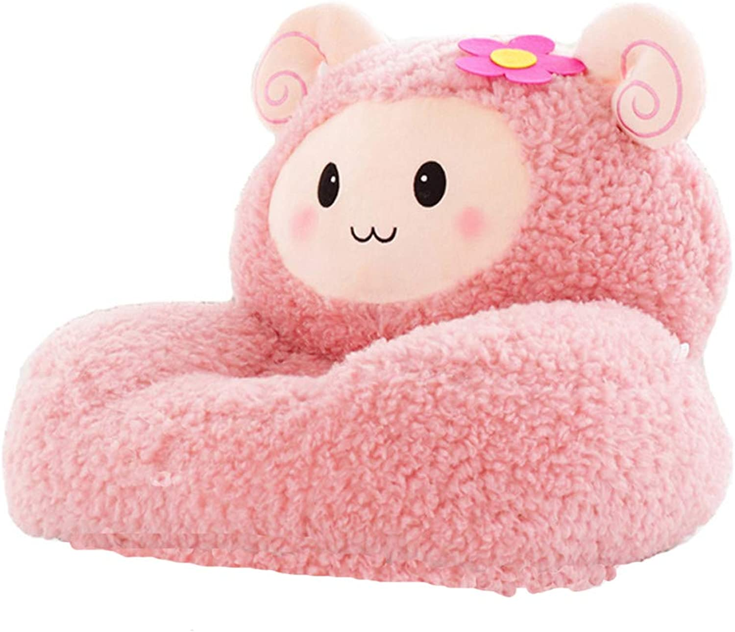 W.una Kids Mini Lounger Sofa,Bean Bag Chair,Novelty Gift Pink Fluffy Sheep PP Cotton Cute Cartoon Washable 21 x17  Birthday Gifts for Boys Girls