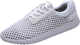 XUJW-Shoes, Fashion Sneakers for Men Walking Shoes Lace Up Mesh Upper Experienced Stitched Cushioning Anti Slip Durable Comfortable Walking Lightweight Leisure Tide (Color : White, Size : 8 UK)