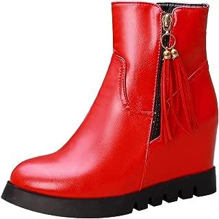 ELEEMEE Women Height Increase Dress Boots Zip