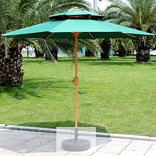 SAMUR Sombrilla para protección Solar, Sombrilla para Patio al Aire Libre, Sombrilla para jardín, Anti-UV, Base giratoria, Verde Oscuro/Beige/Caqui