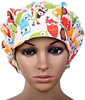 Idealcoldbrew Women's Adjustable Surgical Scrub Cap, Doctor Medical Cotton Bouffant Hat with Sweatband