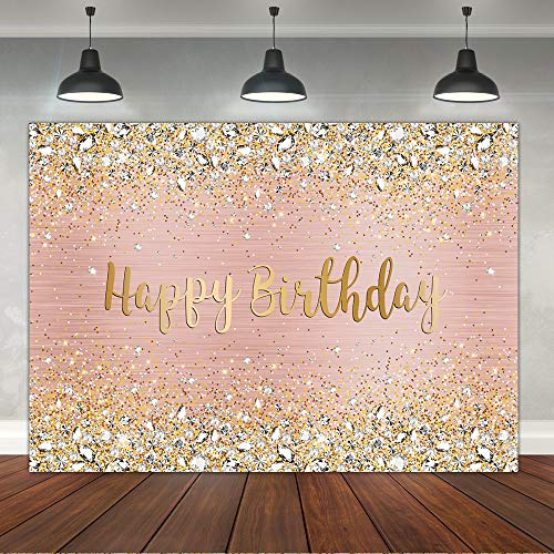 Happy Birthday Backdrop Diamonds Shining Bokeh Pink and Gold Dot Glitter Sparkle Photography Background for Women Girls Lady Sweet Spots Party Decorations Supplies Banner Photo Props Vinyl 7x5ft