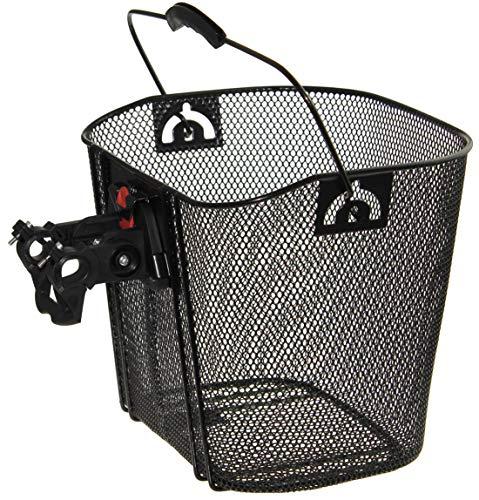 P4B | Vorderradkorb für Ihr Fahrrad in Schwarz | Mit Clip-ON-Halter | Für Lenkerdurchmesser von 22 bis 27 mm | Engmaschig