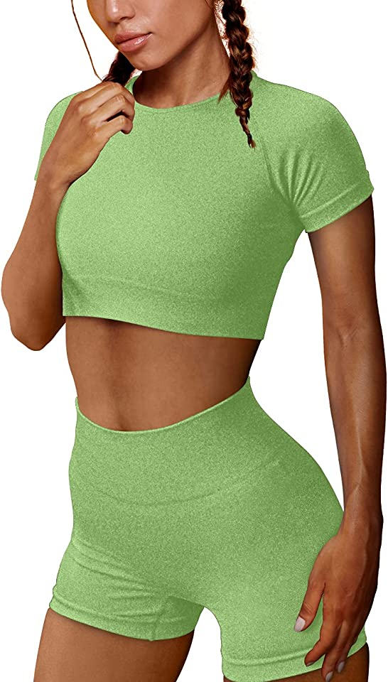 OYS Women's Yoga 2 Piece Outfits Workout Running Athletic Crop Top Seamless High Waist Sports Shorts Sets