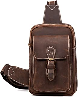 Leather Chest Bag - Vintage Leather Handmade Chest Pocket, Hand Wipe/Casual Messenger Bag/Wear/Large Capacity/Brown 25 * 17 * 9CM Cool