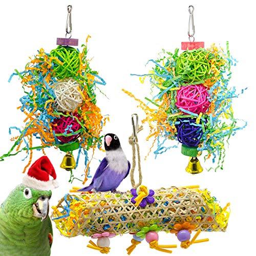 Vogelspielzeug, 3 Packungen für Sittiche, Vogelkäfig-Spielzeuge, Schaukel zum Kauen von Papageien, Sitzstangen mit Glocke, Holzleiter, Hängematte für Sittiche, Nymphensittiche