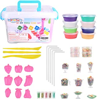 Mixhomic DIY Slime Kit - 44 Pcs Colorful Crystal Clear Slime Cups, Slime Supplies Kit for Girls Boys, Sundae, Fruit mold, Flash Powder, Foam Balls, Fruit Slices Toys for Slime Making kit Aged 3+