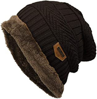 Unisex Fashion Fleece Contrast Color Beanie Knitted Warm Winter Hats & Caps