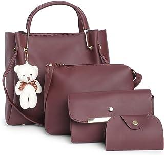 Fostelo Women's Galaxia Collection PU Leather Handbag Combo (Set Of 4) (Brown)