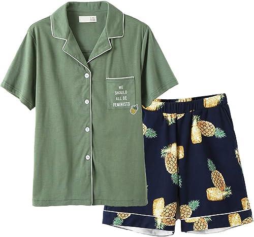 Baijuxing Pantalon de Pyjama à Manches Courtes pour Hommes, Service à Domicile décontracté, Costume de Chemise de Nuit, Style de Vacances VestiHommestaire féminin, XL