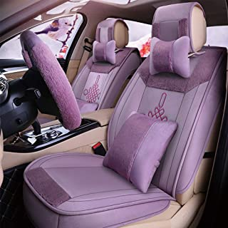 Washable Cars Seats Cover for Adults Breathable Plush Car Seat Cushion Fit Car Seat Covers Set with Airbag Compatible Winter Warm Universal Blue Beige Purple Black