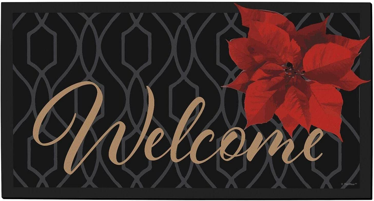 Winter Doormat Poinsettia Welcome Mat Winte Decor Seasonal Black Free shipping on Large special price !! posting reviews