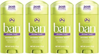 Ban Antiperspirant Deodorant, Invisible Solid, Shower Fresh, 2.6-Ounce (Pack of 4)